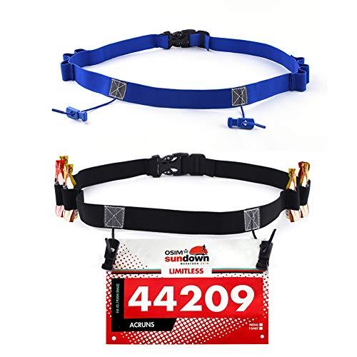 Pudiman Startnummernband mit 6 Gel Halter, Rennnummer Gürtel Nummernhalter Lätzchen Halter für Triathlon Ironman und Marathon (2 Stück) (Schwarz+Blau)