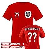 Trikot - at - WUNSCHDRUCK - Kinder T-Shirt - Rot/Weiss-Schwarz Gr. 110-116