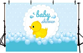 MEHOFOTO Cute Little Yellow Duck Theme Baby Shower Bubble Backdrop Ducky Party Event Decorations Banner Light Blue Cartoon Background Photography Pictures Photo Booth Props 7x5ft
