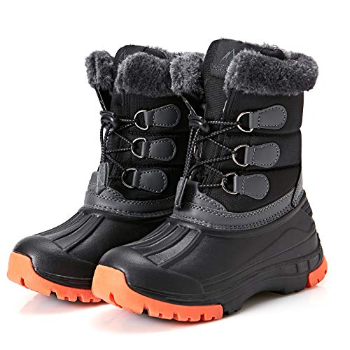 Mishansha Boy's Girl's Winter Snow Boots Waterproof Kids Hiking Boots Cold Weather Outdoor Fur Lined Warm Walking Boot Shoes Black 10 Toddler