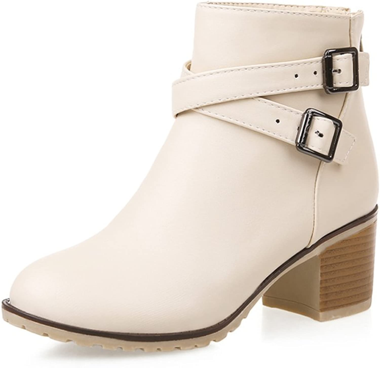 RHFDVGDS Zip chunky heels after the spring and autumn and winter boots Martin boots with middle heels nude boots belt buckle