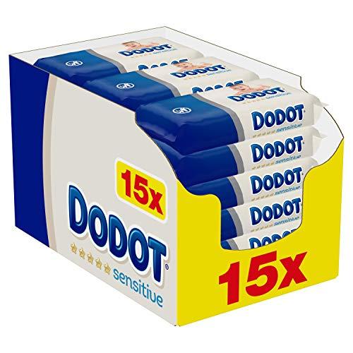 Dodot Toallitas Sensitive para Bebé, 810 Toallitas, 15 Paquete (15x54), Óptima Protección para la Piel de Dodot