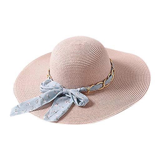 LOPILY Sombrero de Playa Elegante Sombrero de ala Ancha Dome para Mujer Sombrero de Paja Grande Excursión de Verano al Aire Libre Sombrero para el Sol Precioso Bowknot para Sombrero