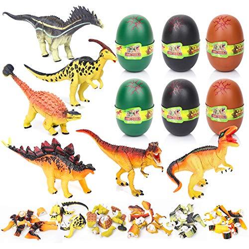Dreamon Huevos de Pascua con 6 Dinosaurio Diferente, Plástico Huevo de Dinosaurio Decoración de Pascua Sorpresa Regalo para Niños Niñas