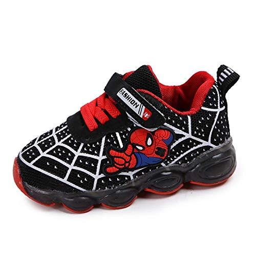 DTZW - Scarpe da ginnastica luminose per bambini, con luci LED, casual, leggere, da corsa, taglia 36, colore: nero