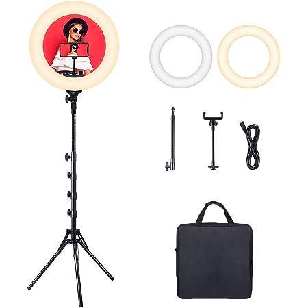 Luce ad Anello, Ring Light LED ESDDI da 18 Pollici 3200k-6500k a Doppia Temperatura di Colore, con Portalampada e Slitta, Adatto per Smartphone, Fotocamera, Video per Youtube, Selfie, Riprese Video