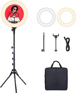 Esddi Anillo de luz LED Regulable de 45,7 cm, Bicolor 3200 K-6500 K, Juego con trípode y Soporte para teléfono móvil para ...