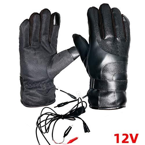 Vxhohdoxs Unisex Handschuhe aus Kunstleder, elektrisch beheizt, 36 V-96 V B