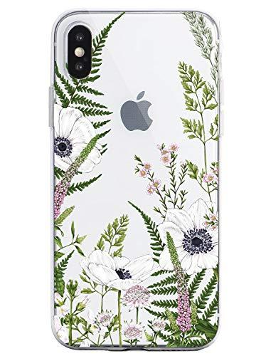Oihxse - Carcasa para iPhone 5/5S/SE con diseño de mandala, transparente, silicona de poliuretano termoplástico, flexible, protección ultrafina, diseño floral de datura multicolor A17