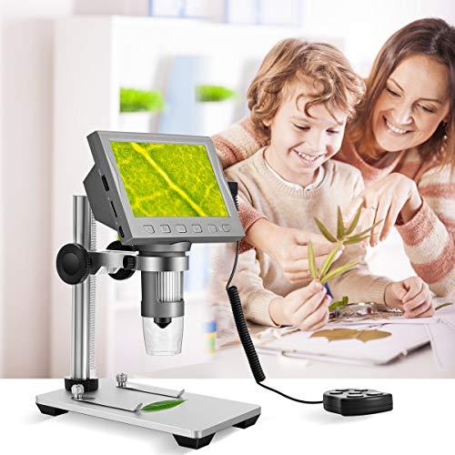 TOPQSC Microscopio Digitale WiFi ingrandimento USB 2.0 Wireless Endoscopio 1080P LCD professionale HDMI microscopio digitale portatile con 8 LED compatibile con Mac e Windows 7 8 10 Android Linux