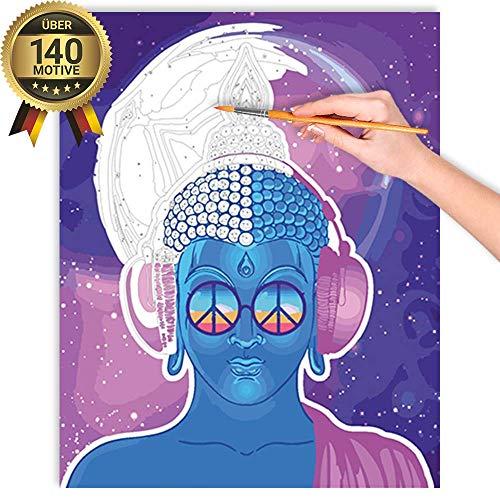 malango® Malen nach Zahlen Set Moderner Buddha über 140 Motive für Erwachsene und Kinder DIY Leinwand Ölgemälde 40 x 50 cm ohne Rahmen Moderner Buddha