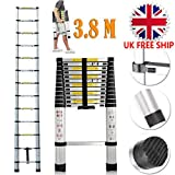 3.8M Aluminium Telescopic Ladder Extension Portable Multi-Purpose Extendable Ladders for Outdoor Indoor Builder DIY Jobs Use
