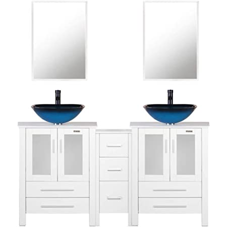 Amazon Com 60 White Bathroom Vanity Double 0 5 Tempered Glass Vessel Sink Sea Blue Orb Faucet Drain Parts Top Bowl Removable Pedestal Mdf Board Mirror Mounting Ring Furniture Decor