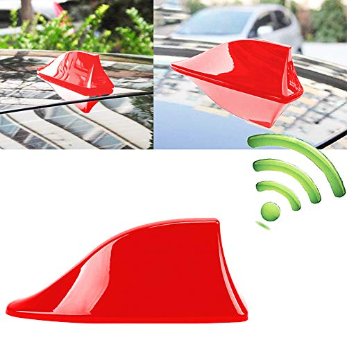 INTVN Aleta de coche - Antena Universal para Coche, Antena de Aleta de Tiburón, Señal de Radio Universal para Auto SUV Camión Van Roof Tail Antena Modificada, Rojo