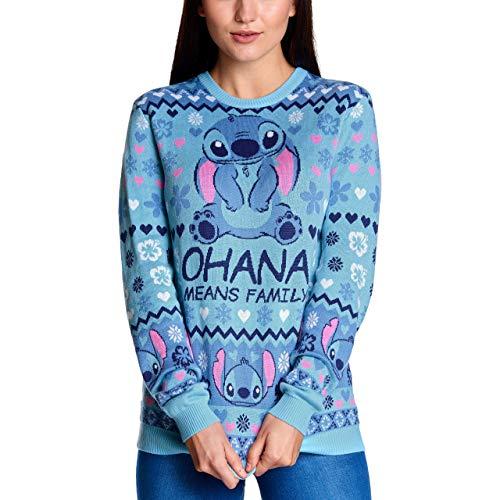 Elbenwald Lilo & Stitch Pull tricoté pour Femme Disney Ohana Means Family Pull de Noël Laid Bleu - XS