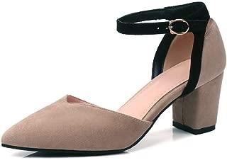 BalaMasa Womens ASL06486 Imitated Suede Block Heels