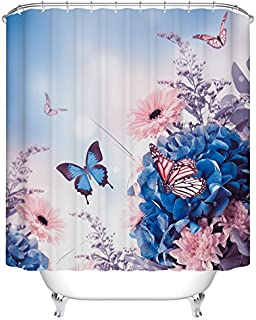 Ormis Blue Hydrangeas and Butterfly Pattern Shower Curtain,Polyester Fabric Waterproof Bathroom Curtain Set with Hooks,72X72 inches
