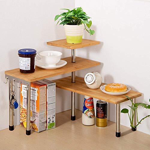 Jolitac Eckregal Küchen-Eckregal Regal Küchenregal Gewürzregal Kräuterregal Tellerregal Küchengestell Tisch Organizer 3 Ebenen aus Bambus mit Haken, für Küche Büro Wohnzimmer Arbeitszimmer