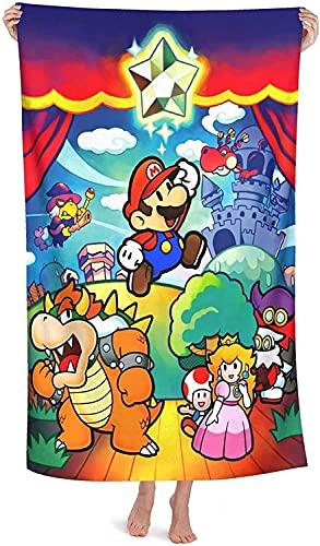 QWAS Super Mario - Toalla de playa de Super Mario, apta para niños y adultos, viajes, juegos en el mar, vacaciones, deportes al aire libre y picnic (A01,100 cm x 180 cm)