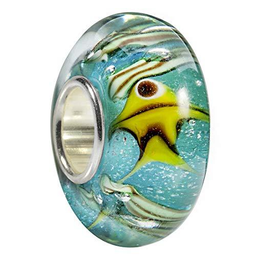 MATERIA in vetro di murano perline ciondolo pesce/Mare disegno Blu Giallo per perline braccialetti #1513