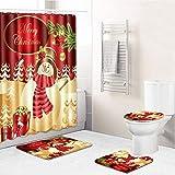 Omenluck Juego de 4 cortinas de ducha antideslizantes para baño de Navidad y cortina de ducha impermeable para decoraciones navideñas