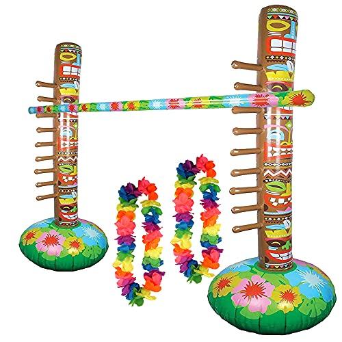 Hawaiian Aloha Aufblasbares Limbo Partyspiel mit 12 Hula Floral Leis Blumen Set Partyspiel Set für Henne Hirsch Blumengirlande Party Verkleidung