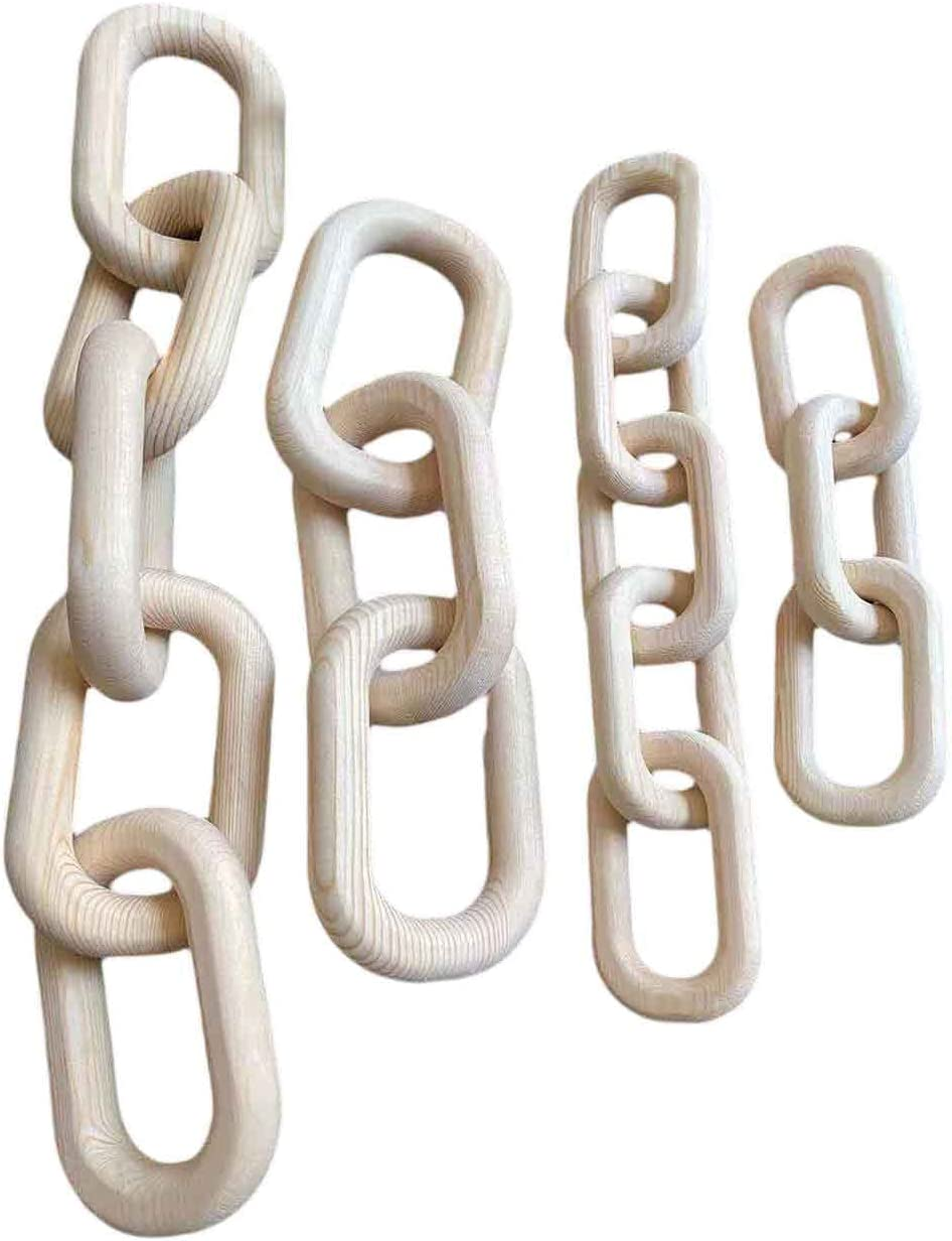 Luckyshe Boho Decor Wood Chain Link 3 Home Farmhouse Hand Max New color 62% OFF Carved