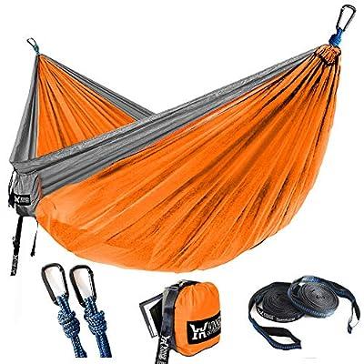 "WINNER OUTFITTERS Double Camping Hammock - Lightweight Nylon Portable Hammock, Best Parachute Double Hammock for Backpacking, Camping, Travel, Beach, Yard. 118""(L) x 78""(W) Grey/Orange"