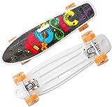 hql skateboard cruiser, mini skateboard da 22 pollici con maniglia per il trasporto, pu flash 4 ruote, per principianti/adulti/giovani/bambini,hip hop music