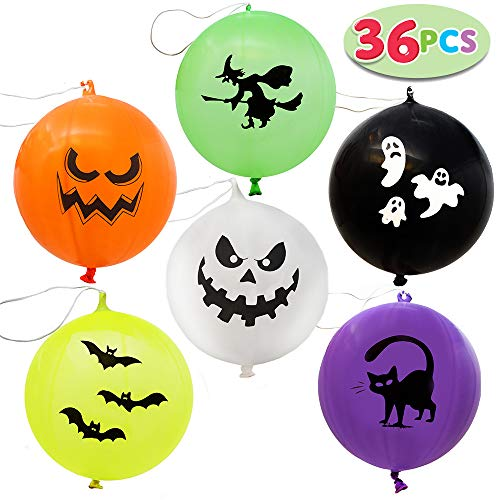 36 Pieces Halloween Punch Balloons for Halloween Punching Balloon Party Favor Supplies Decorations