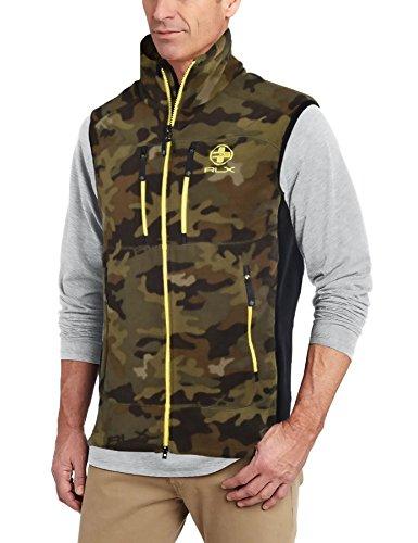 Polo Ralph Lauren RLX Fleece Zip Jacket Vest Camo Yellow Army Green Brown Medium