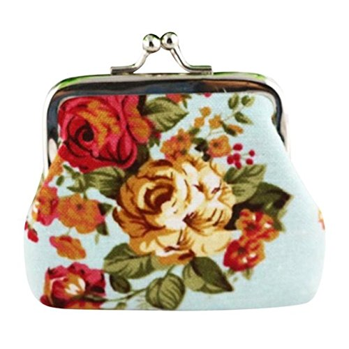 Frauen Retro Lightweight Flower Wallet Modische Hasp Geldbörse Clutch Bag(Hellblau)