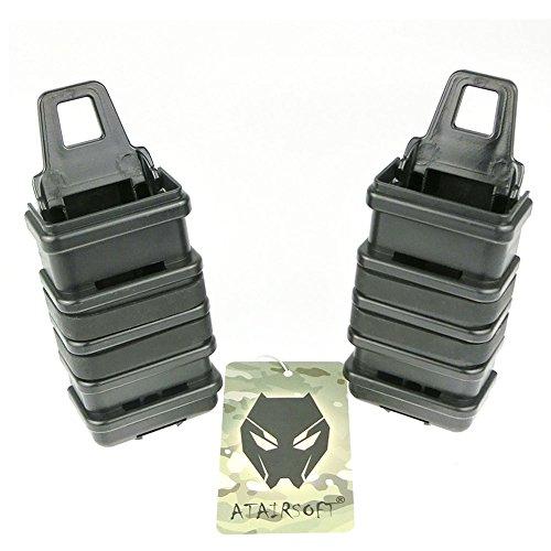 ATAIRSOFT WorldShopping4U 2X Double Fast Attach MP7 MAG Magazine Pochette Molle Holster Titulaire Set 4 Couleurs (Noir, DE, FG, OD) pour Tactical Airsoft (Noir)