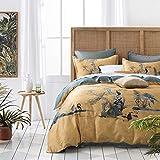 Chinoiserie Chic Duvet Cover Set Painted Oriental Garden Print Bedding 400tc Cotton Sateen Beautiful Botanical Nature Antique Asian Drawing (Ocher Shade, Queen)