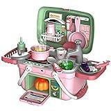 Runtodo 30 Uds., Juego de Juguetes de Cocina para NiiOs, Maleta PortáTil para Cocinar, Juego de SimulacióN, Cocina, Rociador EléCtrico, Juego de Roles