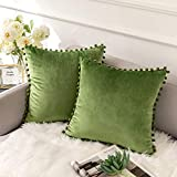 Ashler Decorative Throw Pillow Covers with Pom Poms Soft Particles Velvet Solid Cushion Covers 18 X 18 for Couch Bedroom Car, Pack of 2, Green