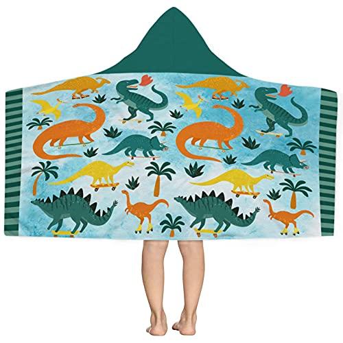 Zzkol Summer Watercolor Dinosaur Hooded Beach Towel, Blue Tropical Dino Animal Microfiber Sand Free Swim Pool Hoodie 30x50, Hawaii Coconut Tree Quick Dry Absorbent Travel Camping Towel Kid Toddler Boy