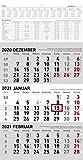 3-Monatskalender klein 2021 - Büro-Kalender 23,7x45 cm (geöffnet) - mit Datumsschieber - inkl. Jahresübersicht - Alpha Edition