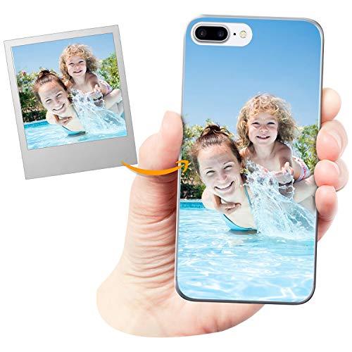 Coverpersonalizzate.it Cover Personalizzata per Apple iPhone 7 Plus / 8 Pluscon la Tua Foto, Immagine o Scritta - Custodia Morbida in TPU Gel Trasparente - Stampa di altissima qualità