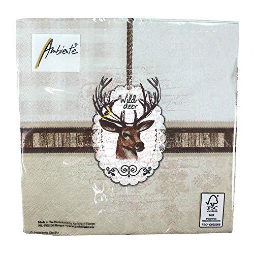 Ambiente Serviettes Motif : Sauvage Cerf, Tête de Cerf, 33x33cm, Triple Épaisseur 20 Morceaux Emballage