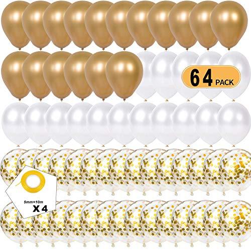 luftballons gold weiß,luftballons metallic gold,luftballons konfetti gold,latex ballons,ballon helium,luftballons für hochzeit geburtstag party dekoration(Golden)