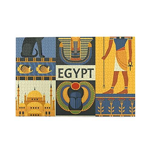 CZMCQM Serie de la Tribu del Antiguo Egipto Imprime 1000 Piezas de Rompecabezas educativos para niños Adultos Juegos para niños Juegos para Padres e Hijos Juguetes