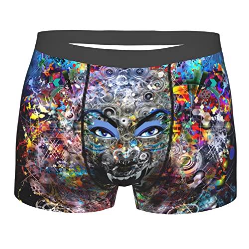 Herren-Boxershorts, weiche Unterwäsche, dehnbar, atmungsaktiv, zum Laufen, Angry Beast Freak bunter energetischer Tiger schwarz, M