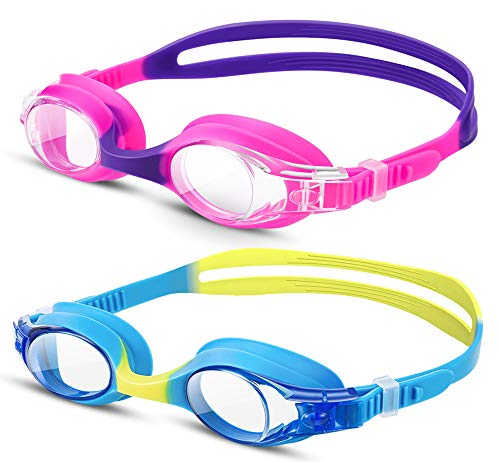 TEAMYO Swim Goggles For Kids, 2 Pack Anti Fog Leak Proof Comfortable Kids Goggles For Swimming, Clear Lens, 3D Tight Fit Design, Adjustable Strap Swim Glasses With Case For Children and Teens Age 6-14