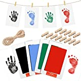 4 Tamponi di Inchiostro a Tocco Pulito Kit per Stampa di Mano e Impronta di Bambini Neonati e Zampa di Pet Stampa di Mani Piedi per Bambini Senza Inchiostro (Nero, Blu, Verde, Rosso)