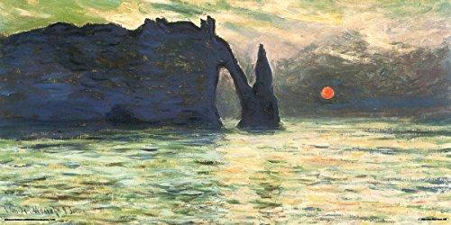 Claude Monet Etretat The Cliff Sunset Impressionist Fine Art Print (Unframed 12x24 Poster)