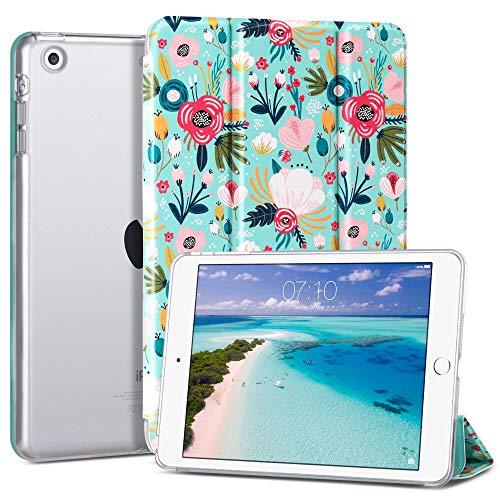 ULAK iPad Mini 1/2/3 Hülle, [Klassische Serie] PU Leder Tasche Schutzhülle Transluzent Rücken Deckel mit Auto Schlaf/Wach Funktion Tablet Hülle für iPad Mini/iPad Mini 2/iPad Mini 3 - Bunte Blumen