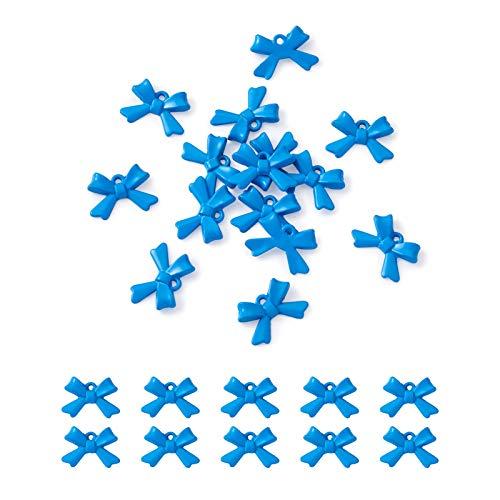 Cheriswelry 20 colgantes de aleación esmaltada, con diseño de lazo y lazo, con pintura en aerosol, para manualidades, joyería, pulseras, llaveros, azul aciano