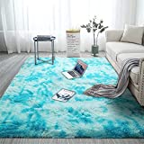 Fuzzy Abstract Area Rugs for Bedroom Living Room Fluffy Shag Fur Rug for Kids Nursery Dorm Room Cozy Furry Rugs Plush Throw Rug Shaggy Decorative Accent Rug for Indoor Home Floor Carpet Light Blue 710