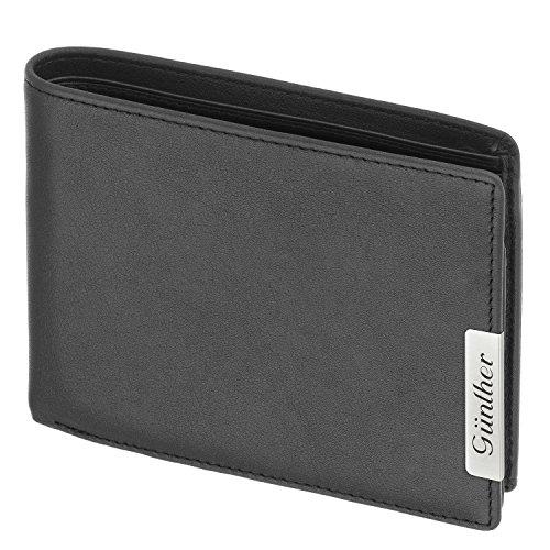 Cadenis Herren Geldbeutel Geldbörse Leder für Linkshänder mit Laser-Gravur Rindnappa schwarz Querformat 12,5 x 10,5 cm